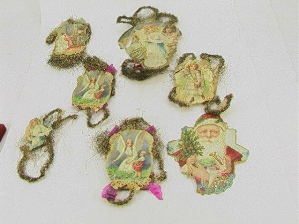 721: Vintage paper Ornaments cut out Santa Christmas lo