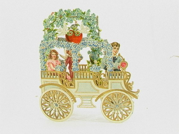 723: German Valentine cut out Mechanical Car    Dimensi