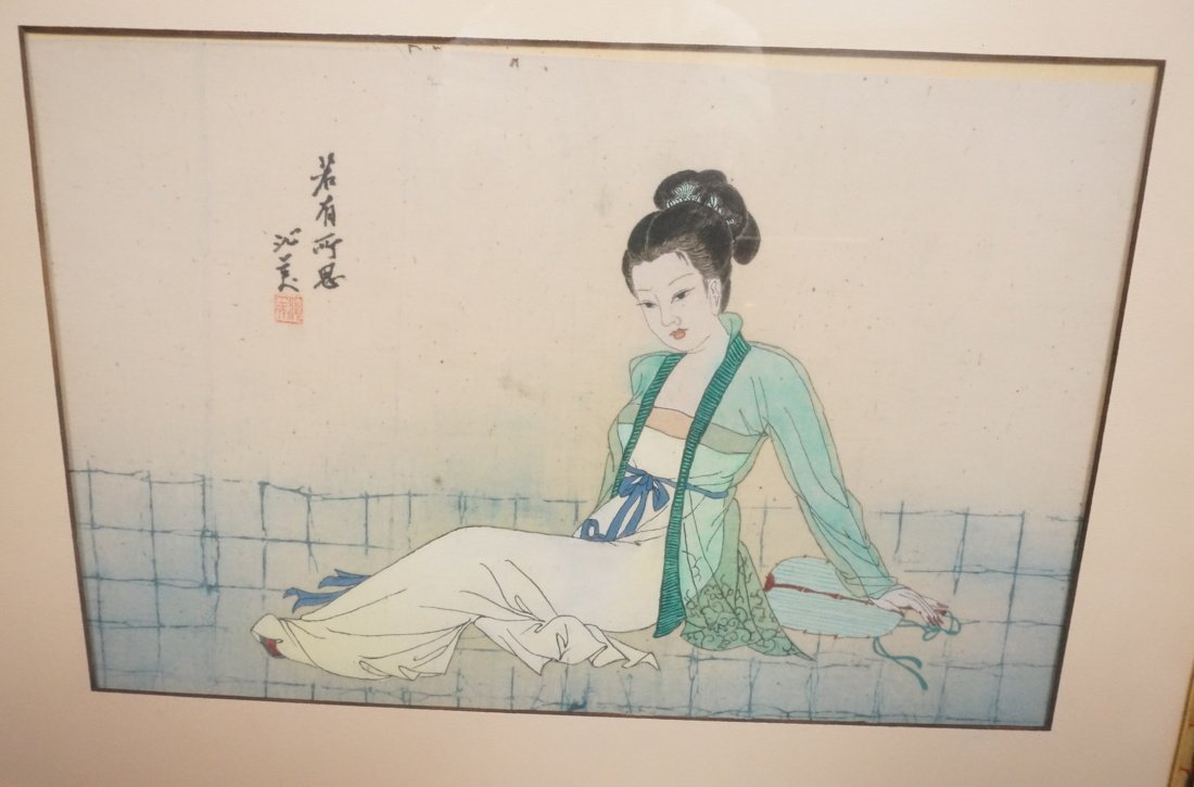 Asian painting on Silk of reclining Woman. Signed