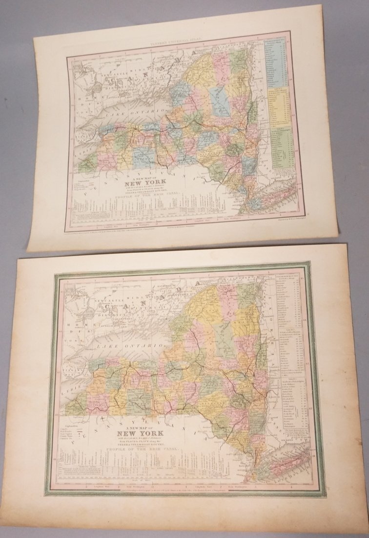 Two 1840 Antique NY Maps W Brose Engraved, Hand C
