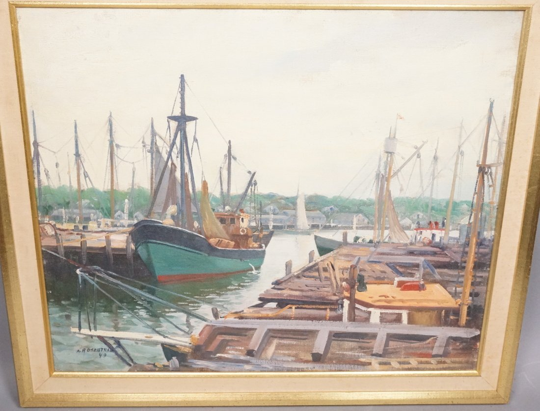 A ROSENTHAL 1949 Oil on Canvas Harbor scene.