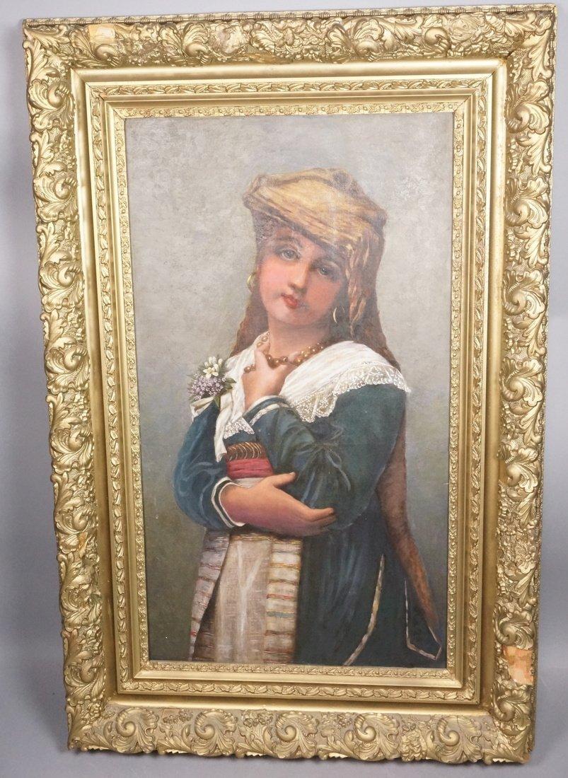 Antique Portrait of European Girl. Fancy Gilt Fra