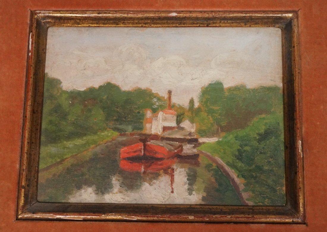 Sm. 1890  Oil on Board BOAT in SEINE Antique Beax