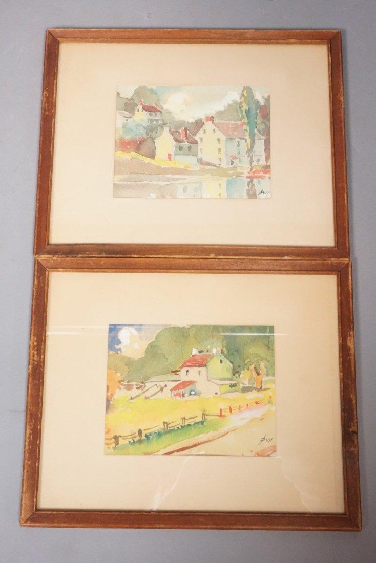 Two JOHN J DULL watercolors Landscapes of Buildin