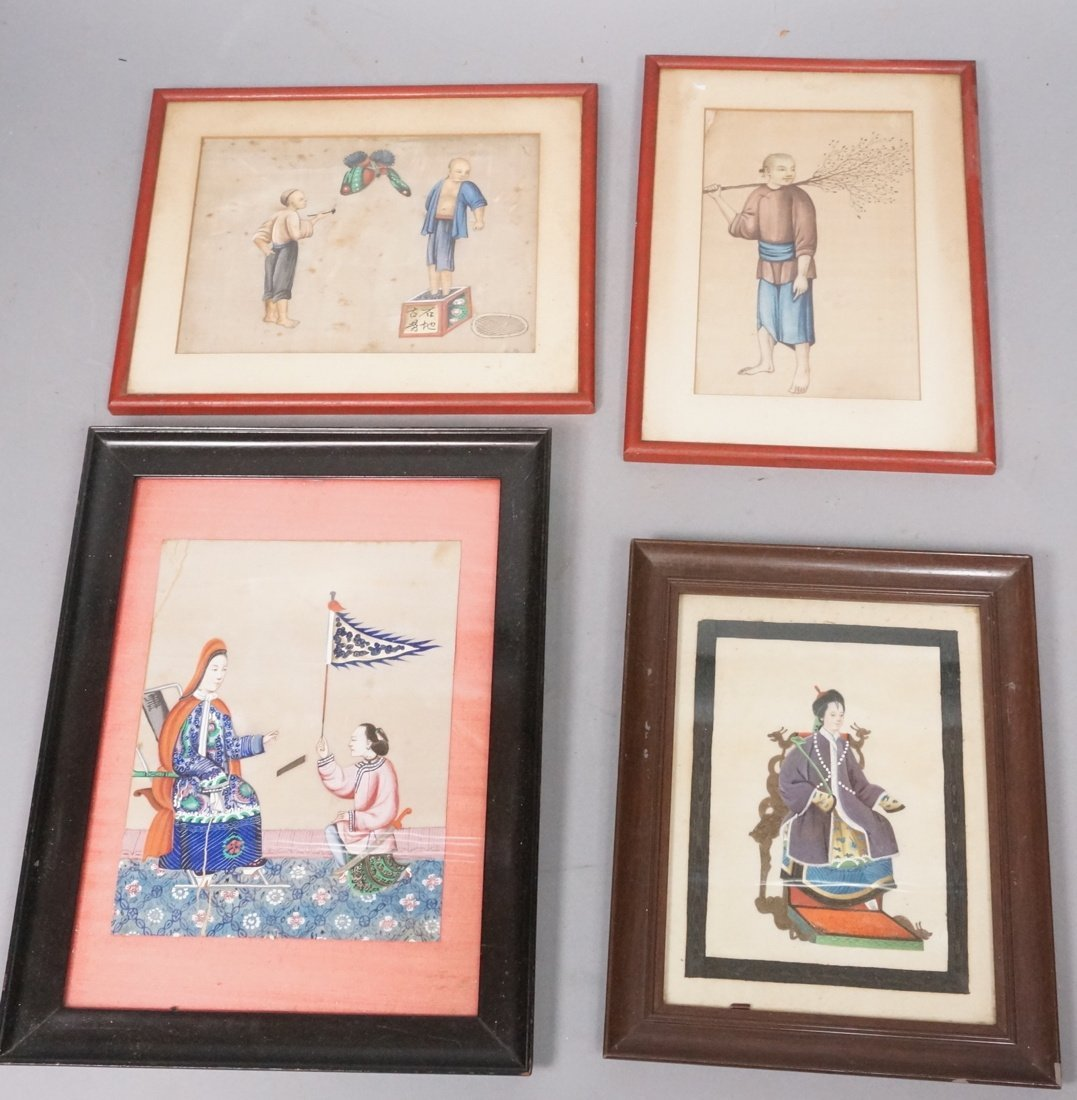 4 Asian Chinese Paintings on Silk. Largest is 5.7
