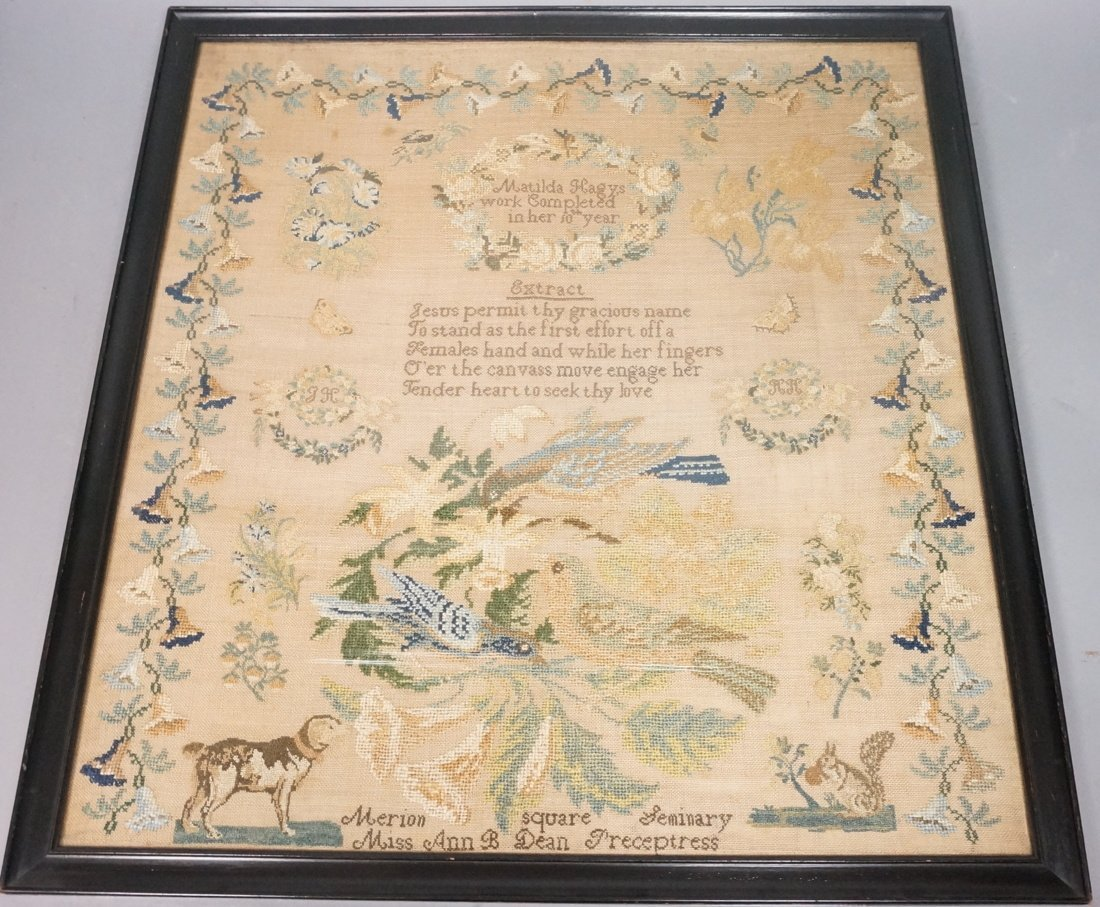 Well Done 1800s Sampler. Matilda Hagys in her 10t