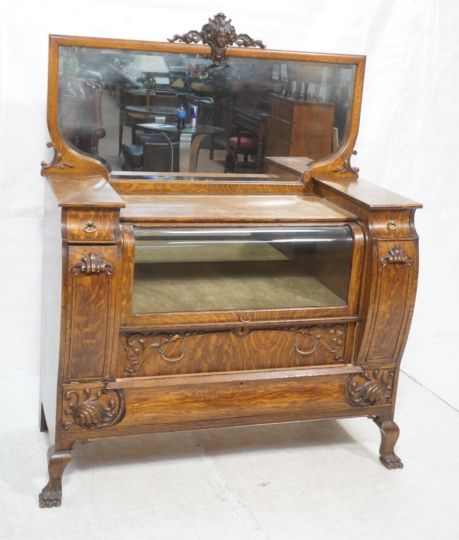 Oak Sideboard with CURIO Drawer. Bowed glass show