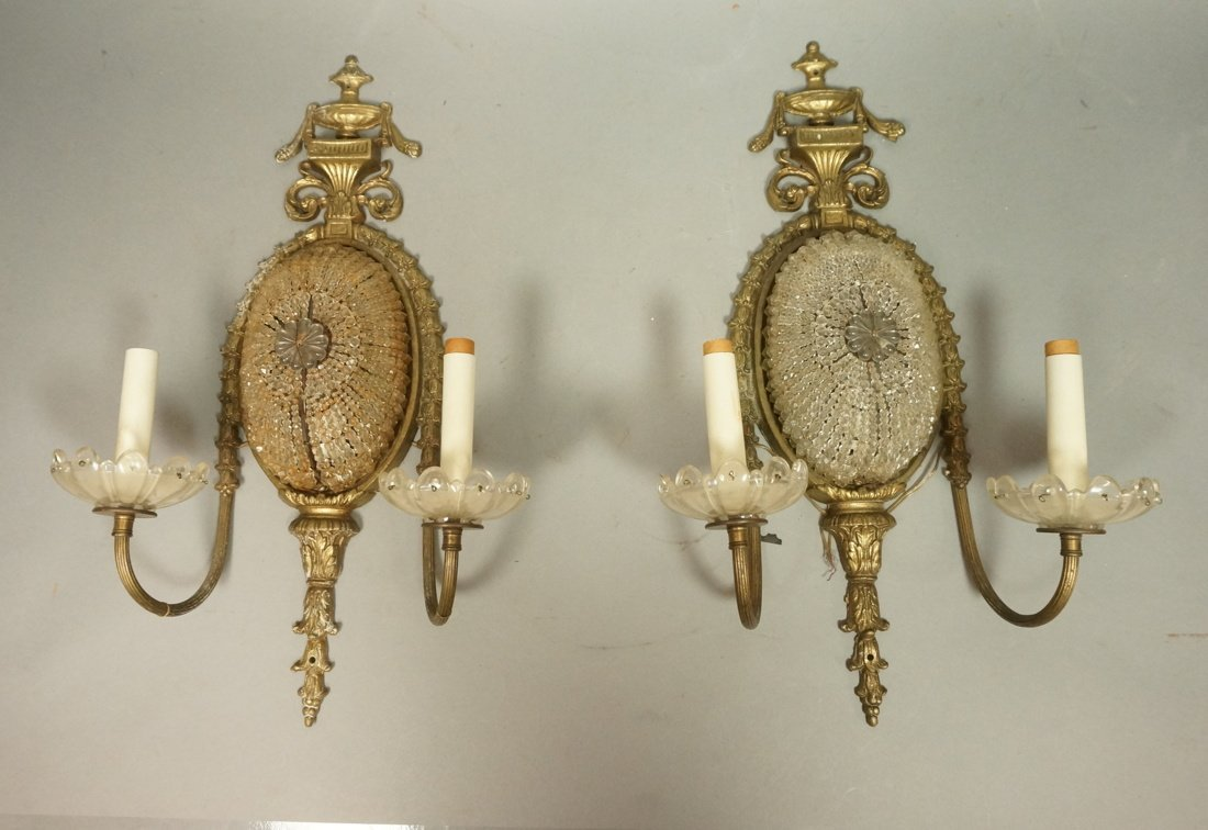 Pair of wall sconces with strung crystals Classic