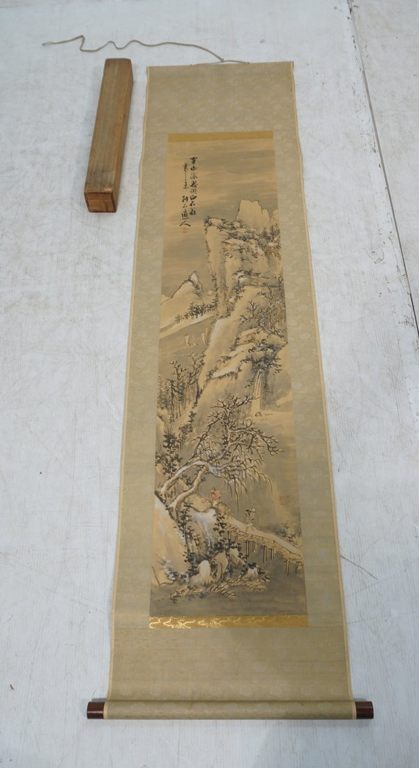 Vintage Hand painted Chinese scroll of Mountain p
