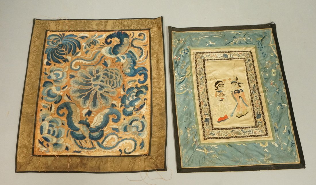 Two Asian silk embroidered panels.