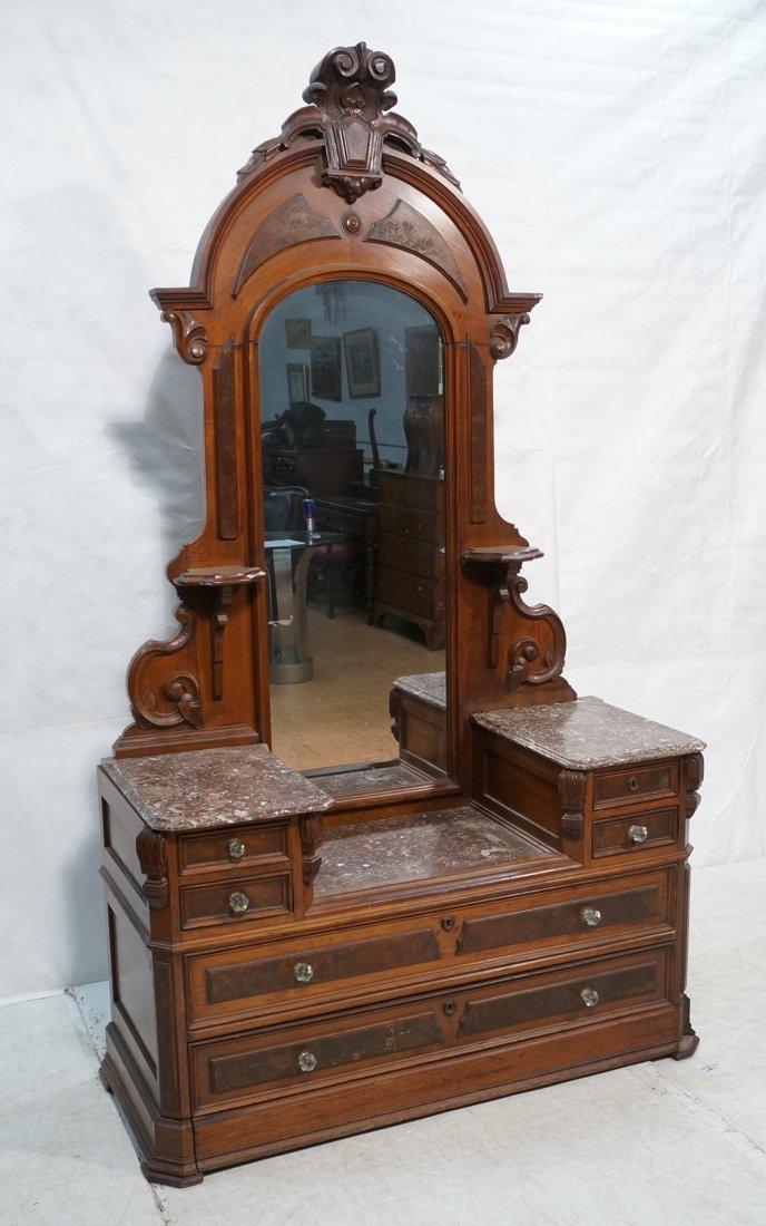 Walnut Victorian Dresser with brown Marble top. G