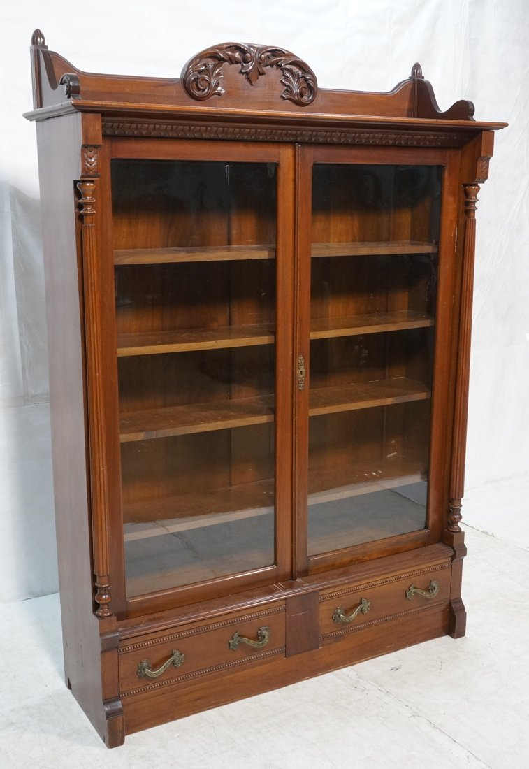 Two door Victorian Bookcase with Drawers.