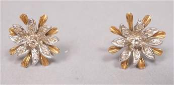 Pr Gold & Diamond Earrings. Floral with white & y