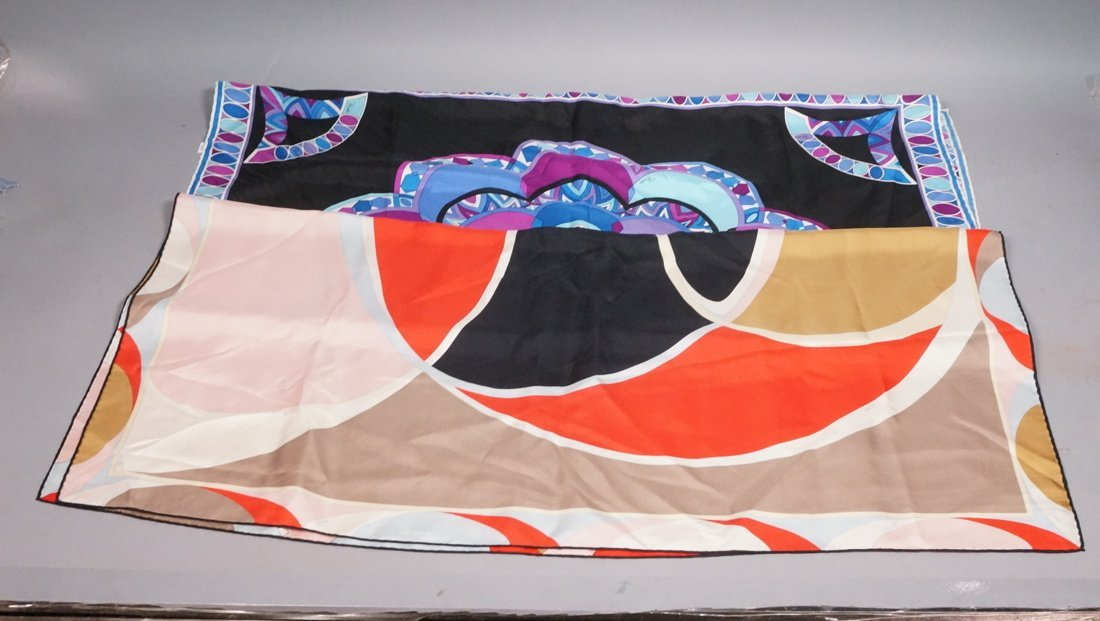 "2 EMILIO PUCCI Silk Scarves. 1). 34"" square Abstr"
