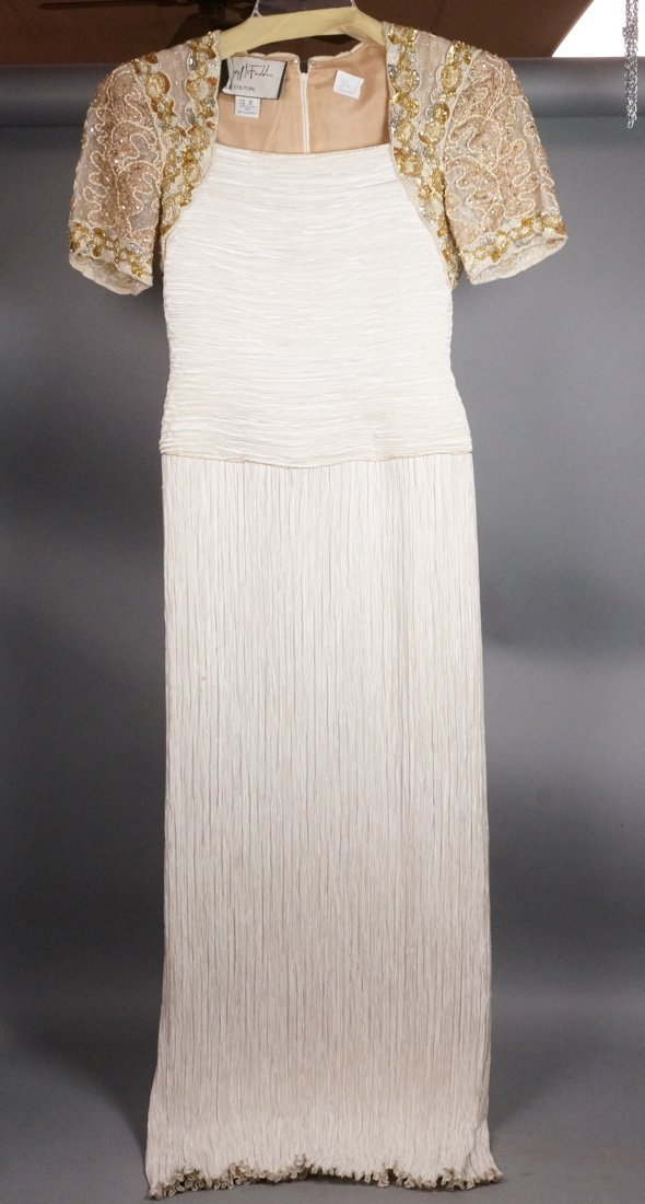 MARY McFADDEN Couture Fortuny Pleated Evening Gow