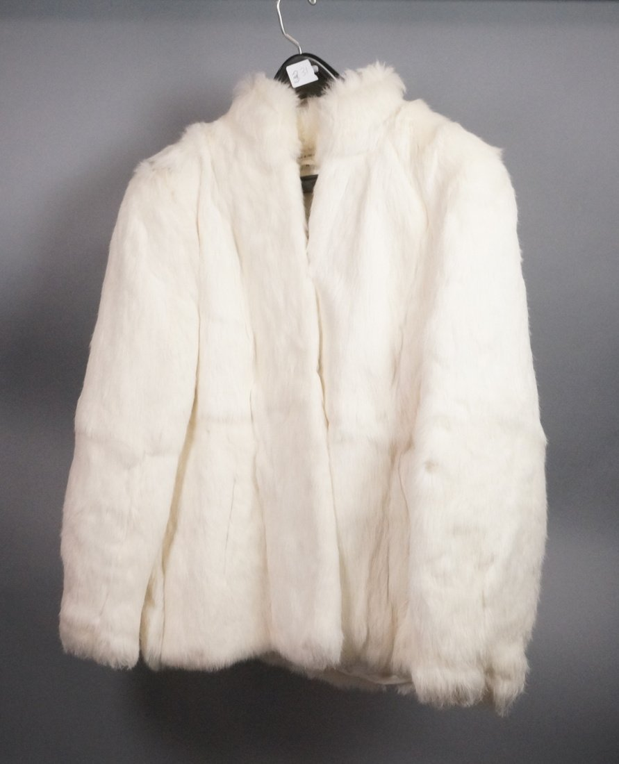 White Rabbit Fur Short Jacket. Hook & Eye Closure