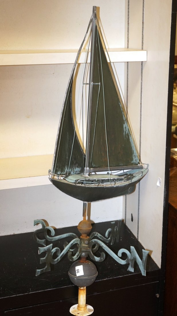 Green Patinated Copper Weather Vane of Sailing Bo