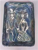Glazed Pottery Tray Dish Signed illegibly Ehenn