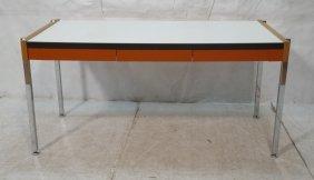 Designcraft Modernist Desk. Chrome Legs. Orange M