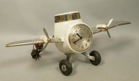 Vintage Figural Sessions Airplane Clock. Plastic