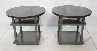 Pr Gray Lacquer Side End Tables. Round Top on Squ