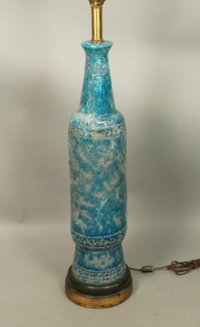 Large Ceramic Lamp. Blue Pottery With Long Neck.