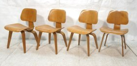Set 4 Charles Eames Dcw Lounge Chairs. Early Evan