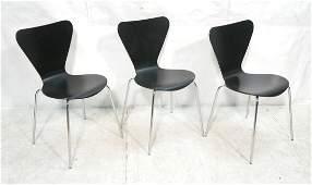 Set 3 Stacking Ebonized Side Chairs. Shiny Chrome