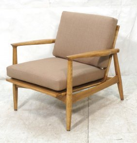 Modernist Lounge Chair With Tan Upholstery.