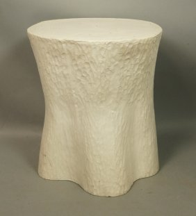 White Tree Trunk Form Molded Plastic Side Table S