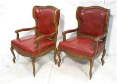 Pr Wine Leather Low Profile Wing Chairs Brass st