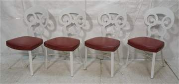 Set 4 Decorator Steel Dining Chairs   Painted wh