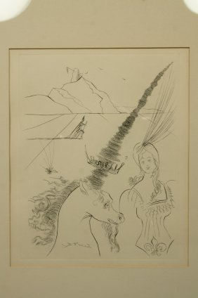 Salvador Dali Woman With Unicorn Engraving Print.