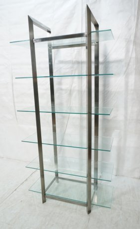 Modernist Stainless Steel & Glass Etagere Shelf U
