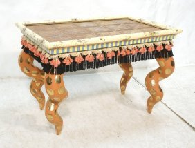Mackenzie Childs Tin Tile Top Side Table. Whimsic