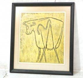 "Ponce Dejean Bull Woodcut Print. Pencil Signed. """