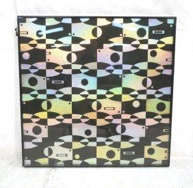 Black And Optic Mylar Framed Art. Op Art Graphic