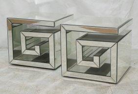 Pr Decorator Beveled Glass Regency Style Side Tab