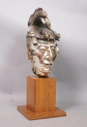 Mexican Warrior Sculptural Bust Head. Silvered Br