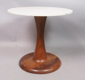 Marble Top Small Low Side Table. Swollen Wood Tul