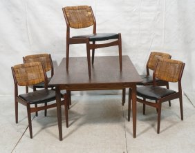 6pc Dining Set. 5 Dining Chairs With Woven Cane B