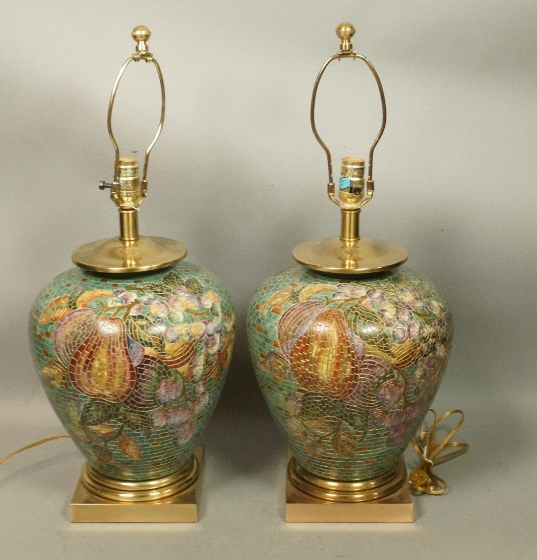 Pr Ceramic Ginger Jar Lamps. Mosaic pattern of fr
