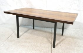 Milo Baughman Style Dining Table With Natural Top