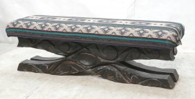 Witco Carved Wood Long Bench. Southwestern Fabri