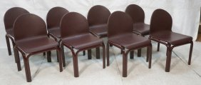 Set 8 Knoll Dining Chairs. Burgundy Metal Tube Fr
