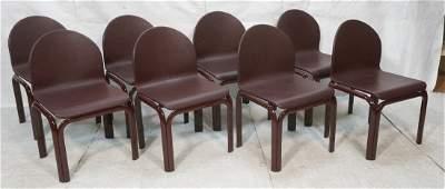 Set 8 KNOLL Dining Chairs Burgundy metal tube fr