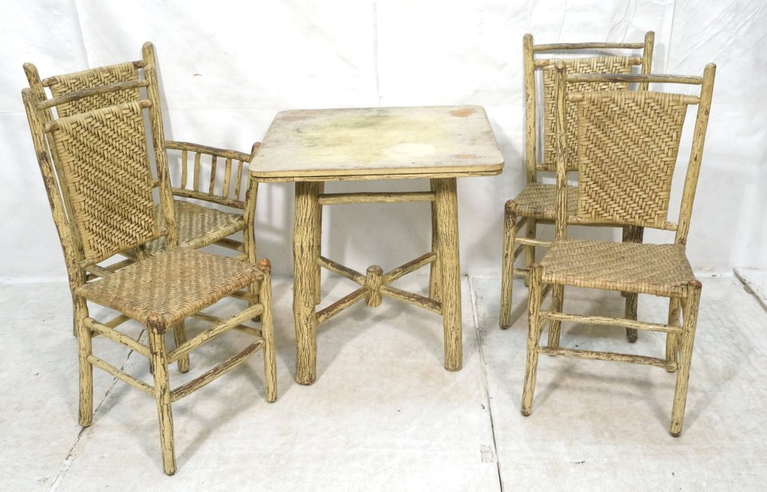 OLD HICKORY Adirondack Table & 4 Chairs. Table ma