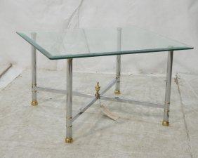 Jeffco Regency Style Chrome & Brass Glass Top Tab