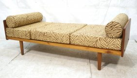Danish Modern Sofa Daybed. Brown And Gold Zebra P