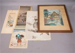 5pc Lot Asian Prints Woodblocks All signed Owl